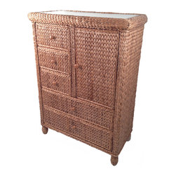 Wicker Paradise - Seagrass 5 Drawer Chest With Door - Miramar Collection - A versatile 5 drawer chest with door is perfect for your storage needs.  This luxurious piece is hand woven and built on a solid wood frame. Combine with the Miramar headboard and end table for that tropical décor to complete your room.
