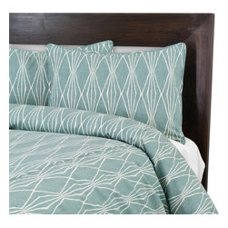 """Sands - Chooty - Handcut Shapes Rain Corded King Duvet and 2 Corded Shams - Make your bed a place to relax in modern style with this corded Duvet Set (duvet and two shams) in an off-white transitional geometric print. A beautiful soft turquoise blue is the perfect backdrop to the stylized design. This is the perfect way to finish your bed with a custom look. (King Size - 100""""W x 94""""L)"""