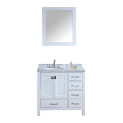 "Ari Kitchen and Bath - Bella 36"" Solid Wood Pure White Bathroom Vanity and Mirror - Beautiful transitional style bathroom vanity by Ari Kitchen and Bath, a new brand manufacturing quality bathroom decor at affordable prices. The new 36"" Bella comes with 1"" edge Italian carrara marble top, backsplash, undermount CUPC basin, soft-closing drawers & doors, concealed drawer hinges, white framed mirror and pure white solid wood bathroom cabinet. Absolutely no MDF or Particle board on all of our bathroom vanities. All of our bathroom vanities come assembled by the manufacturer, minimal assembly required."
