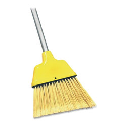 Genuine Joe - Genuine Joe Angle Broom - 1 Each - Yellow - Angle broom features high-performance bristles to provide cleaning action. Flagged, acid-resistant PVC bristles trap fine particles and will not stain, discolor or absorb odors. Use wet or dry. Ideal for use in malls, restaurants and lobbies. Lightweight design features a durable frame and solid broom head construction. The 47 handle is made of steel tubing with vinyl coating. The head is made of polypropylene.