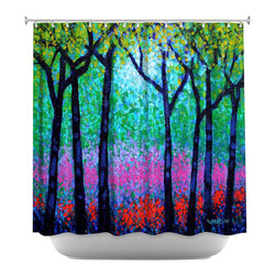 DiaNoche Designs - Shower Curtain Artistic - Spring Woodland - DiaNoche Designs works with artists from around the world to bring unique, artistic products to decorate all aspects of your home.  Our designer Shower Curtains will be the talk of every guest to visit your bathroom!  Our Shower Curtains have Sewn reinforced holes for curtain rings, Shower Curtain Rings Not Included.  Dye Sublimation printing adheres the ink to the material for long life and durability. Machine Wash upon arrival for maximum softness. Made in USA.  Shower Curtain Rings Not Included.