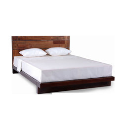 Savannah Collection Mahogany and Reclaimed Wood Platform Bed - Savannah Collection Mahogany and Mix Reclaimed Wood Bed
