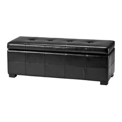 Safavieh - Maiden Tufted Storage Bench Lg - Black - Additional seating and storage is always welcome and the Large Maiden Tufted Storage Bench offers both. Crafted with birch wood in black finish and black bicast leather, this super-sized piece brings just as much style as it does substance.
