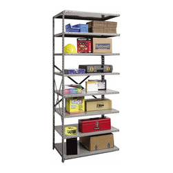 Hallowell - 87 in. High 8-Tier Medium-Duty Open Utility Shelf - Adder (48 in. W x 18 in. D x - Depth: 48 in. W x 18 in. D x 87 in. H. Expand your workshop or commercial storage space quickly and easily with this medium-duty open utility shelf, designed with an open side to connect to existing units. Made of cold rolled steel, the shelf is available in your choice of sizes and will be a functional way to turn any area into an organized, inviting work space. Great addition to Hi-Tech medium-duty open shelving starter unit. Open style with sway braces. 8 Adjustable shelves. Fabricated from cold rolled steel. Welds are spaced 3 in. on center to provide maximum strength. Sides are triple flanged to form a channel. All 4 corners are lapped and resistance welded to provide a rigid corner and add extra strength to the shelf. Tubular front edge is designed to protect against impact loads. 48 in. W x 12 in. D x 87 in. H. 48 in. W x 18 in. D x 87 in. H. 48 in. W x 24 in. D x 87 in. H. Assembly required. 1-Year warranty