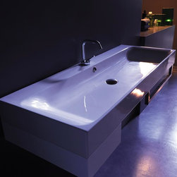 WS Bath Collections - 47.2 in. Bathroom Sink in White - Includes mounting hardware. Wall hung or counter top installation. Rectangular shape. With overflow. One faucet hole. Designer high end premium quality. ADA compliant. Designed by Marc Sadler. Warranty: One year. Made from ceramic. Made in Italy. 47.2 in. W x 17.7 in. D x 3.9 in. H (60 lbs.). Spec SheetKerasan by WS Bath Collections, designers high-end ceramic washbasins and sanitary ware with the greatest imaginable versatility in application. Models that adhere to the more current trends of design, harmony and elegance.