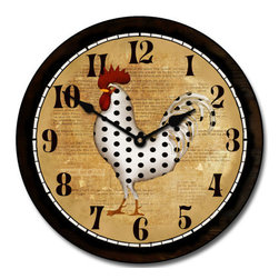 """Tyler - Spots Rooster Clock, 18"""" - Country Charmer"""