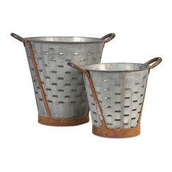 Vintage Pierced Bucket - Set of 2 - These vintage inspired iron buckets feature bands and handles with a rich rust patina and are pierced around the circumference. Use them to hold kindling next to the fireplace, potpourri, or dry decorative filler.