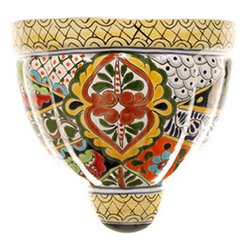 Mexican Talavera - Mexican Talavera Wall Planter - X-Large, Design B - Mexican Talavera Wall Planter X-Large