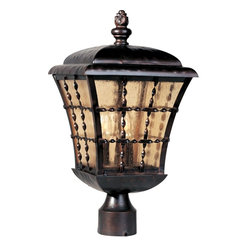Maxim Lighting - Maxim Lighting Orleans Traditional Outdoor Post Lantern Light X-IOSA09403 - Twisted metal window grids add texture to this stunning Maxim Lighting outdoor post lantern light from the Orleans Collection. The gentle curved frame also features a multitier roof and traditional styled turned finial, all finished in a luxurious Oil Rubbed Bronze hue. For added appeal, this post light also features amber seedy glass window panes.