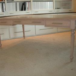 "Custom Cabinets / Home Office - Partners Desk: 42"" x 70""; Wood - Oak; Finish - White stain / glaze; Fluted legs; PHOTO: Green Wolf's Village Barn Shops in Skippack"