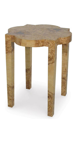 Palecek - Olive Burl Geo Side Table - Olive ash burl veneer top and legs over plantation hardwood frame.