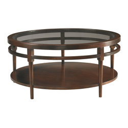 Sherrill Occasional - Sherrill Occasional Round Cocktail Table 356-830 - An inset glass gives this larger scaled round cocktail table a lighter feeling than it's dimensions indictate.