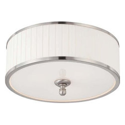 Satco - Satco Candice Traditional Flush Mount Ceiling Light X-1474/06 - Candice blends the design of traditional chandeliers from the past with contemporary finishes and materials used today.  The results are strikingly rich lighting fixtures with a look all their own.  Truly original.   This collection is finished in Brushed Nickel with Pleated White fabric shades.