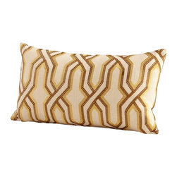 Cyan Design - Cyan Design Twist and Turn Pillow X-41560 - Overlapped detailing creates an elegant loose interwoven pattern on this Cyan Design pillow. From the Twist and Turn Collection, this lumbar pillow features neutral colors and has been filled with downs and feathers. The pattern is done in shades of yellow, brown and cream, giving it a comfortable look.