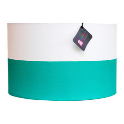 """Mood Design Studio - Modern Drum Lamp Shade Emerald and White Color Block, 12"""" - Mood Design Studio brings bold, modern, and colorful accessories into your home. All of our designs begin on paper by sketching ideas for fabric collections. We research color trends and mix in inspiration from the fashion runways as well as from our favorite mid century design books. Our fabrics are printed in the USA using eco friendly dyes and printing methods."""