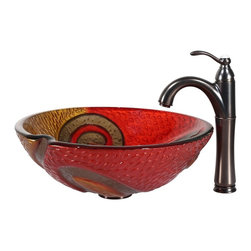 Kraus - Kraus C-GV-620-17mm-1005ORB Copper Snake Glass Vessel Sink and Riviera Faucet - Add a touch of elegance to your bathroom with a glass sink combo from Kraus