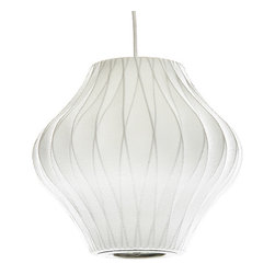 Modernica - Bubble Lamp, Pear Criss Cross Small - Taking its cues from midcentury design, this handcrafted ceiling pendant features a white crisscross shade, six feet of white cord and a brushed-nickel ceiling plate. Flank your bed with two or line three or more over your kitchen island for a little earthy, organic enlightenment.