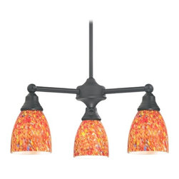 Design Classics Lighting - Mini-Chandelier with Art Glass in Matte Black Finish - 598-07 GL1012MB - Transitional matte black 3-light chandelier. Takes (3) 100-watt incandescent A19 bulb(s). Bulb(s) sold separately. UL listed. Dry location rated.