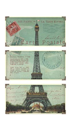 Uttermost Eiffel Tower Carte Postale Art Set/3 - Each board has antique brass corner accents and decorative screws. The prints are laminated to wood boards. Each board has antique brass corner accents and decorative screws. Each panel is 12x23.