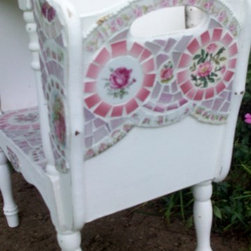Shabby Cottage Rose China Mosaic Tile Magazine Table - What a darling table this turned out to be!  It was pretty cute before I added any mosaics but now it is just bursting with color!!  A very solid wood magazine table that is painted cottage white and distressed just enough to call it SHABBY...Loads of rose focals with splashes of greens and pinks and yellows all over.  This doesn't have to be used for just magazines....pretty pink rolled towels, a lacey throw.  Use your imagination!  Perfect for an end table or between two chairs.  This will surely make a statement in any room of your shabby cottage home!