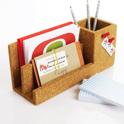 Cork Desk Organizer - Cork board has a new place in the office: right on your desk. This multi-purpose workspace organizer holds pens, paperclips, and any other office trinkets in need of a home. And, because it's cork board, you can still pin your most pertinent notes right onto the side.