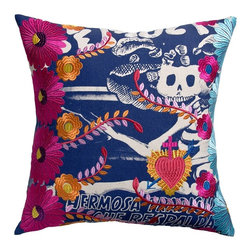 """Koko Mexico Pillow 20"""" x 20"""" - Mexican Fiesta! Flaming hearts and tactile daisies. Bold symbols of the living and the dead. Relax. All products by The Koko Company reflect their love for natural fabrics, and the manufacturing is closely monitored to ensure fair wages and compliance with strict social and environmental standards. Eagle Print Embroidery"""
