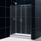 "Dreamline - Visions Frameless Sliding Shower Door, 36""x60"" Shower Base & Shower Backwall Kit - This smart kit from DreamLine offers the perfect solution for a bathroom remodel or tub-to-shower conversion project with a VISIONS sliding shower door, universal shower backwall panels and a coordinating SlimLine shower base. The VISIONS shower door has two stationary glass panels and two sliding glass panels that open to create an ample center point of entry. The SlimLine shower base incorporates a low profile design for a sleek modern look, while the shower backwall panels have a tile pattern. Envision your shower space fresh and new with this complete shower kit from DreamLine."
