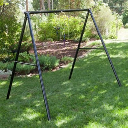 Flexible Flyer Metal Lawn Swing Frame - So simple you simply can't go wrong with it the Flexible Flyer Lawn Swing Frame is a reliable support system for your 4- or 5-foot patio swing. Constructed of a 2-inch tubular steel this frame weighs just 33 lbs. but is capable of supporting up to 600 lbs. The powder coated finish is available in white. Assembly is required.