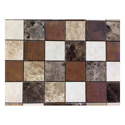 """GL Stone - Emperador Square Metal and Marble Mosaic Tile, ( 1 Carton / 11 Sheets ) - 2"""" X 2"""" Emperador Square Metal and Marble Mosaic Tile is popularity marble mosaic to enhance interior decor, such as  installation on floors, walls and backsplash in commercial and residential spaces. This tiles are subject to variation in color: brown, white, crema caramel, etc. The nature beauty color from the tiles are perfect to install on bathroom wall, backsplash, kitchen surrounds, etc."""