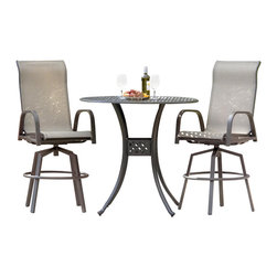 Lakeview Outdoor Designs - Madison Bay 2-Person Sling Patio Bar Set - Casual, simple and relaxed, the Madison Bay collection combines easy going sling with durable aluminum that makes this patio furniture ideal for outdoor entertaining. With two bar stools and a 42-inch bar table, this 3-piece bar set is great around pools or beachside environments because it dries quickly and is easy to clean with soap and water. The bar stools have a heavy duty swivel mechanism so you can smoothly swivel 360 degrees. The heavy-duty, polyester tan sling is PVC coated to resist fading and mildew, and has double stitched seams to hold weight up to 350 pounds. The round bar table features an easy-to-clean cast aluminum top. The bronze, powder-coated and rust-resistant aluminum frame is capped on the bottom with non-marking leveling feet for support and held together with stainless steel hardware for durability. Dimensions (in inches): Bar Table: 42 W X 42 D X 39 H. Bar Stool: 22 1/16 W X 30 D X 53 H. Seat Height: 30 H. Arm Height: 36.