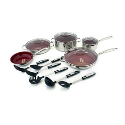 Kevin Dundon - Kevin Dundon Signature 15 Piece Non Stick Cookware Set, Red - 15 Piece Set Includes: