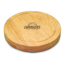 """Picnic Time - San Diego Chargers Circo Cheese Board in Natural Wood - The Circo by Picnic Time is so compact and convenient, you'll wonder how you ever got by without it! This 10.2"""" (diameter) x 1.6"""" circular chopping board is made of eco-friendly rubberwood, a hardwood known for its rich grain and durability. The board swivels open to reveal four stainless steel cheese tools with rubberwood handles. The tools include: 1 cheese cleaver (for crumbly cheeses), 1 cheese plane (for semi-hard to hard cheese slices), 1 fork-tipped cheese knife, and 1 hard cheese knife/spreader. The board has over 82 square inches of cutting surface and features recessed moat along the board's edge to catch cheese brine or juice from cut fruit. The Circo makes a thoughtful gift for any cheese connoisseur!; Decoration: Engraved; Includes: 1 cheese cleaver (for crumbly cheeses), 1 cheese plane (for semi-hard to hard cheese slices), 1 fork-tipped cheese knife, and 1 hard cheese knife/spreader"""