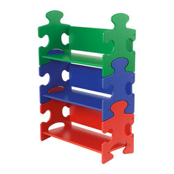 Kidkraft Puzzle Book Shelf, Primary - As a nod to traditional kids' puzzles, this bookshelf fits together just like a real puzzle. It stands out with bold colors and brightens up any room with its fun look.