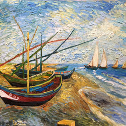 """overstockArt.com - Van Gogh - Fishing Boats on the Beach at Saintes-Maries - 30"""" X 40"""" Oil Painting On Canvas Hand painted oil reproduction of one of the most famous Van Gogh paintings, Fishing Boats on the Beach at Saintes-Maries. The original masterpiece was created in 1888 with its colorful beached fishing boats in the foreground and water surfing sailboats in the back. Today it has been carefully recreated detail-by-detail, color-by-color to near perfection. Why settle for a print when you can add sophistication to your rooms with a beautiful fine gallery reproduction oil painting? Vincent Van Gogh's restless spirit and depressive mental state fired his artistic work with great joy and, sadly, equally great despair. Known as a prolific Post-Impressionist, he produced many paintings that were heavily biographical. This work of art has the same emotions and beauty as the original by Van Gogh. Why not grace your home with this reproduced masterpiece? It is sure to bring many admirers!"""