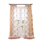 "Exclusive Fabrics & Furnishings, LLC - Francesca Taupe Patterned Sheer Curtain - 100% Polyester. 3"" Pole Pocket. Imported. Dry Clean Only."