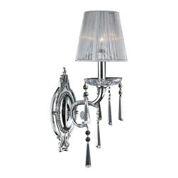"""Worldwide Lighting - Orleans 1-Light Chrome Finish Crystal Wall Sconce with White String Shade 6"""" W - This stunning 1-light wall sconce only uses the best quality material and workmanship ensuring a beautiful heirloom quality piece. Featuring a radiant chrome finish and finely cut premium grade clear crystals with a lead content of 30%, this elegant wall sconce will give any room sparkle and glamour."""