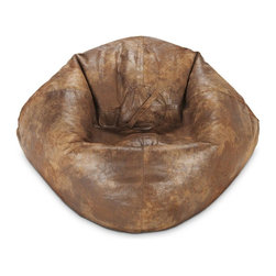 ABC Lifestyle - Faux Leather Bean Bag - Durable suede/faux leather fabric and double stitched seams for durability. Ergonomic seating position. Great for reading, playing video games, watching TV, relaxing. Overall Dimensions: 32 in. L x 30 in. W x 13 in. H (6 lbs)