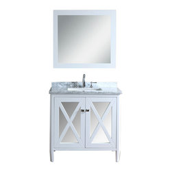 "Ariel - Summit 36"" Single-Sink Bathroom Vanity Set - This vanity from our Summit collection blends modern and traditional elements into one design. From its tapered legs to mirrored door panels and alpine white finish, this vanity is sure to provide a dash of style to any bathroom."