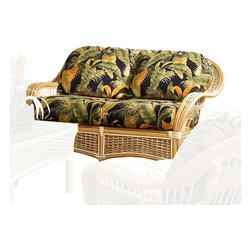 Spice Island Wicker - Loveseat with Cushions (Nara Marsala Spun - All Weather) - Fabric: Nara Marsala Spun (All Weather)As warm and inviting as a fresh summer breeze, this rattan loveseat will be a charming choice for any decor. Perfect for a sun room or enclosed patio, the seat is finished in natural for an elegant touch and features plush seat and back cushions in your choice of fabrics. Natural finish. Includes cushions. 54 in. W x 34 in. D x 32.5 in. H (50 lbs.)