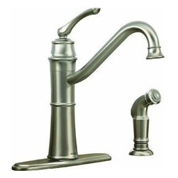 """MOEN INC - Kitchen Faucet Single Arc Stainless Steel - Side spray, conventional deck mounting, 2 or 4 hole application, 3/8"""" compression connection, 7.87"""" spout height, 2.2 GPM. Finish Stainless."""