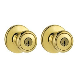 "Kwikset Corporation - Tylo Twin Entry K2 Brt Brass - Includes two Tylo entry knobs locksets for keyed exterior doors. Both knobs lock or unlock by key outside or turnbutton inside. Security knobs feature full 1"" solid core throwbolt, all metal mechanisms, anti-pry shield 5-pin system. DOOR PREP: 2-1/8"" Cros  s Bore, 1"" Edge Bore, 1"" x 2-1/4"" Latch Face. BACKSET: 2-3/8"" standard and adjustable 2-3/8"" to 2-3/4"" optional. DOOR THICKNESS: 1-3/8"" to 1-3/4"" door. CYLINDER: 5-pin. FACEPLATES: 1"" x 2-1/4"" round corner. STRIKES: 2-1/4"" full lip round corner. BOLT: 1/2  "" throw. HANDING: Reversible for right or left hand doors. ANSI/BHMA: Grade 3.    CLEAR PACK  6 Way Adjustable Latch - Round Corner Strike  Finish=Polished BrassKeying=K2"
