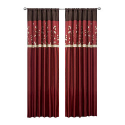 Lush Decor - Cocoa Blossom Red Window Curtain - Set of 2 - Includes: 2 Window Panels. Fabric Content:100% Polyester. Color: Red. Care Instruction: Dry clean. Each Panel: 42 in. W x 84 in. HFaux silk with floral embroidery. Rod pocket slides onto curtain rod for installation.