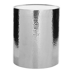 Safavieh - Safavieh Polonium 17x17 Round Occasional Hammered Table in Silver - With a highly polished aluminum and hammered finish, the Polonium drum table takes the basic cylinder to new heights of fashion as a contemporary column to hold a lamp or favorite treasure. What's included: Accent Table (1).