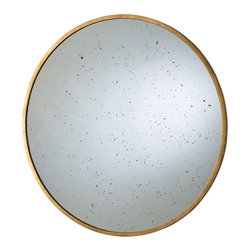 Arteriors - Kira Mirror - This large, round, speckled antiqued mirror is banded with a narrow iron frame finished in gold leaf. Layer multiples and lean them on a large fireplace mantel or tall sideboard for a striking visual impact. Features a security cleat.