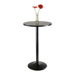 Winsome - Winsome Obsidian Round Pub Table with Black Leg and Base in Black - Winsome - Pub Tables - 20123 - A beautiful accent for a cocktail bar or a restaurant this table would also look great in a modern home. Easily assembled the pub table consists of a veneer top and a gleaming black metal coated base.