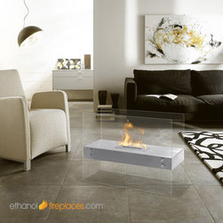 Free Standing Ethanol Fireplaces - Moda Flame Avila Contemporary Indoor Outdoor Ethanol Fireplace in Stainless Steel