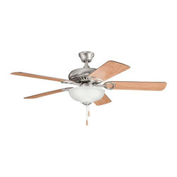 "BUILDER FANS - BUILDER FANS 339211AP Sutter Place Select 52"" Transitional Ceiling Fan - From the Sutter Place Collection, this Kichler Lighting ceiling fan features a clean Antique Pewter finish that compliments the warm tones of the reversible cherry fan blades. The fixture also features an elegant satin etched glass shade."
