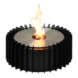 """Ignis - EBG300 Ethanol Fireplace Grate - Put an end to the mess and the fuss of using a wood-burning fireplace by inserting this Ethanol Fireplace Grate into your existing unit. This sleek, round burner insert and grate set uses eco-friendly ethanol, so you won't experience any of the soot, ash, or gas release that is associated with burning wood while still enjoying the look and atmosphere of an open flame. It holds three full liters of ethanol fuel, which is enough to burn for a full 13.5 hours before another refill is required. This 5,000-BTU burner is sufficiently sized for heating an average-sized room without the need for a chimney or special ventilating system. Dimensions: Grate: 14.5"""" x 14.5"""" x 6"""", Burner: 11"""" x 11"""" x 4.5"""". Features: Ventless - no chimney, no gas or electric lines required. Easy or no maintenance required. Capacity: 3 Liter. Approximate burn time - 13.5 hour per refill. Approximate BTU output - 5000. Eco-Friendly - doesn't produce any smoke, sooth or dangerous gases. Easy Maintenance - just wipe it with a damp cloth once in a while."""