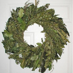24 in. Enchanted Forest Eucalyptus Wreath - The 24-inch Enchanted Forest Eucalyptus Wreath has layers upon layers of luscious green. The base is made up of fragrant green eucalyptus and Salal leaves and then decorated with forest greens of Leptofolia with Melacua or Australian Pine. It is a 24-inch wreath that is a beautiful welcome to your home. A forest of greens!This product is designed for indoor use or outdoor use in a protected area. Direct exposure to sunlight and humidity over long periods of time will result in nominal fading. Also be careful when placing your wreath garland or swag over a heat source as high temperatures may result in damage. Follow these easy regulations and you'll have a maintenance-free product that adds plenty of seasonal charm.
