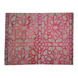 1800GetARug - Pink Wool and Sari Silk Abstract Design Hand Knotted Oriental Rug Sh14626 - Our Modern & Contemporary collection contains some of the latest designs in the industry. The range includes geometric, transitional, abstract, and modern designs; from the Tibetans to the Gabbeh. We offer an entire line of contemporary designs, whether you're searching for sophisticated and muted to the vibrant and bold.